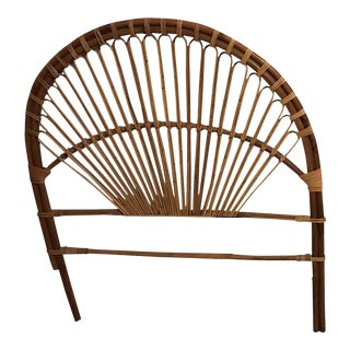 Pair Albini Style Vintage Twin Wicker Rattan Headboard
