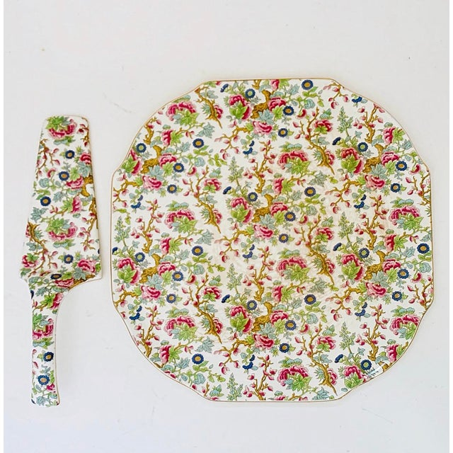 Vintage Chintz English Floral Cake Serving Platter and Pie Knife - the Set For Sale - Image 9 of 9