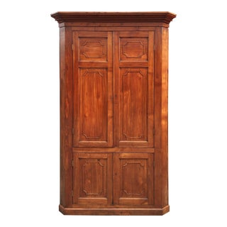 Large Two-Tiered Corner Cabinet or Cupboard of Cherry with Paneled Doors For Sale
