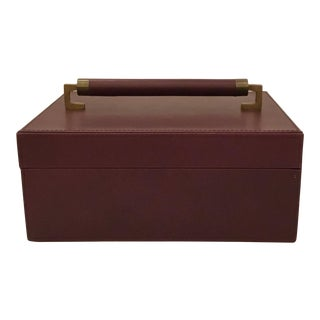 Modern Plum Purple Leather Wrapped Box For Sale
