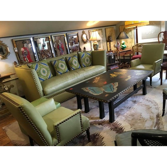 Green Vintage Lime Green Leather George Smith Club Chairs- A Pair For Sale - Image 8 of 11