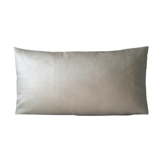 Dark Gold Faux Leather Lumbar Pillow For Sale