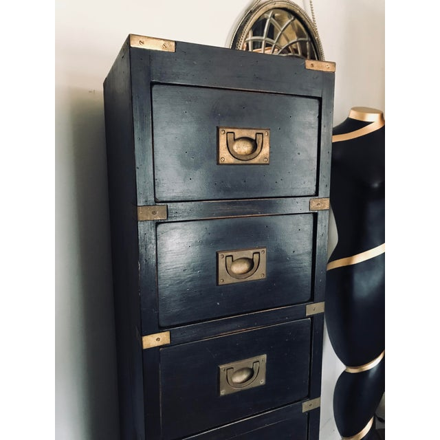 well made vintage chest, aged brass brackets, dove-tailed drawers. could be used in a study as a filing system.