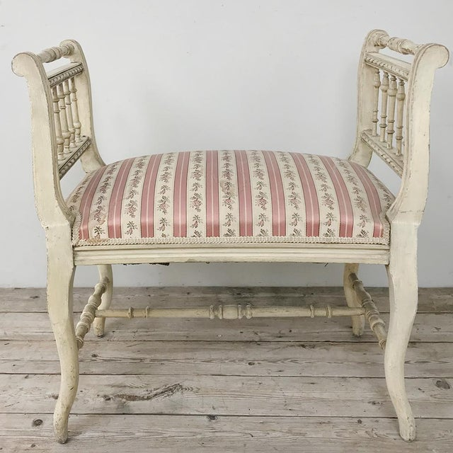 Late 19th Century 19th Century French Painted Louis XVI Armbench ~ Banquette For Sale - Image 5 of 12