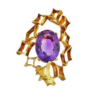 H. Stern Modernist 18k Gold and Amethyst Brooch / Clip For Sale