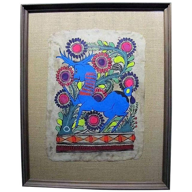 Otomi Mexican Folk Art Amate Painting For Sale
