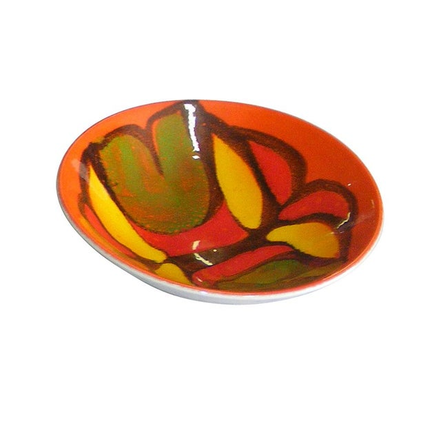 Vintage Poole Pottery England 88 Delphis by Cynthia Bennett Hand painted plate 1960s - 70s Yellow, red, orange and green...