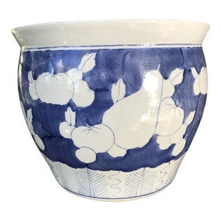 Vintage Chinoiserie Large Blue and White Planter For Sale