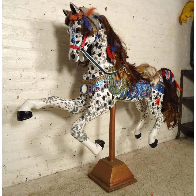 Vintage Antique Hand-Painted Wooden Horse For Sale - Image 4 of 10