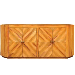 Fabulous Restored Vintage Bamboo Cabinet With Tulip Style Hardware For Sale