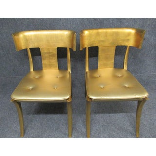 Vintage Mid Century Modern Gold Klismos Accent Chairs - a Pair Preview
