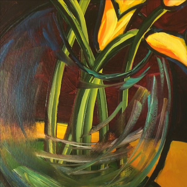 """P. Corthouts """"Callas in Burgundy"""" Acrylic Painting - Image 4 of 9"""