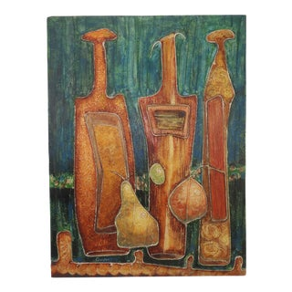 Original Mid-Century Mixed Media Still Life Painting For Sale
