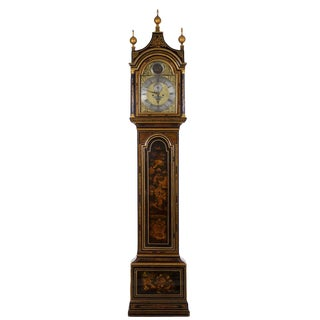 English George III Antique Japanned Tall Longcase Clock by Daniel Keele Circa 1770 For Sale