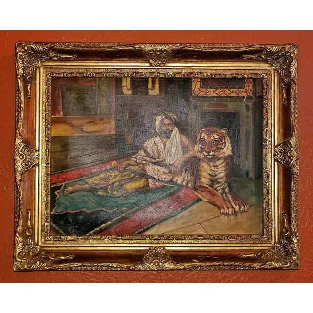 Gold 19c Oil on Canvas of Raj or Prince with Tiger For Sale - Image 8 of 9