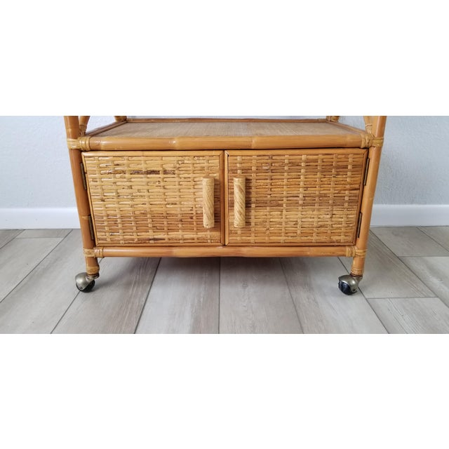 Vintage Two Tier Rolling Bar Cart For Sale In Miami - Image 6 of 10