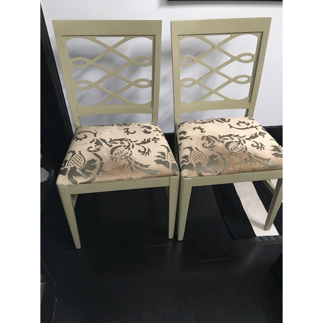 Mid-Century Stenciled Velvet Dining Chairs - a Pair For Sale - Image 4 of 13