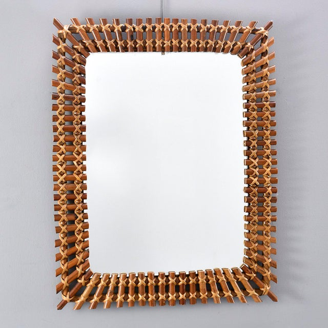 Mid-Century Rectangular Bamboo Framed Mirror For Sale - Image 10 of 10