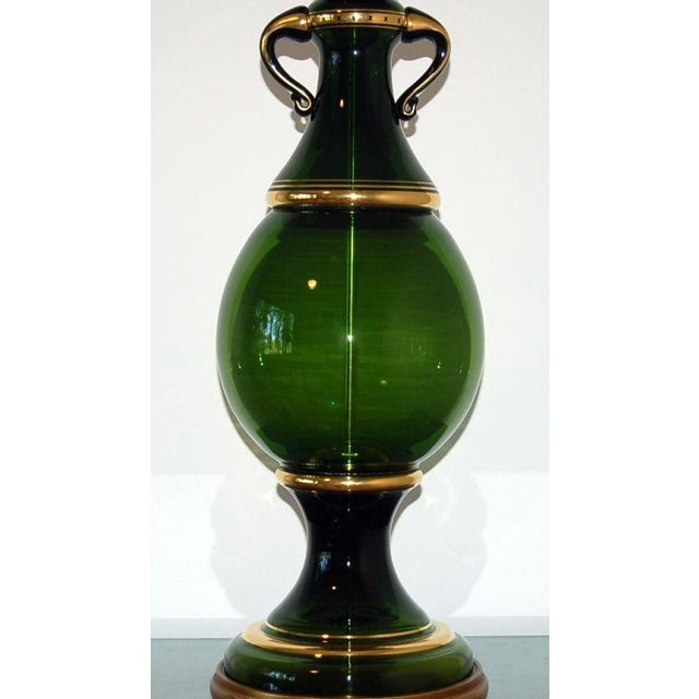 1950s Marbro Murano Glass Table Lamp Green Large For Sale - Image 5 of 10