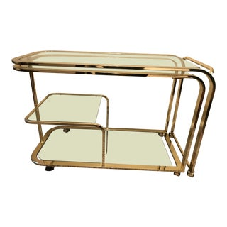 1970s Mid-Century Modern Milo Baughman for Dia Brass and Glass Bar Cart For Sale