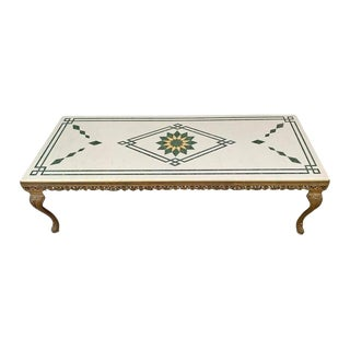 Vintage Italian Marble Top Low Table For Sale