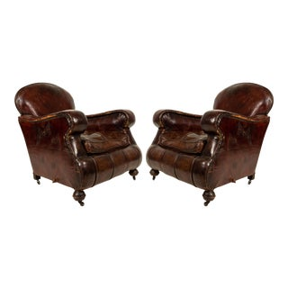 English Victorian Brown Leather Club Chairs For Sale