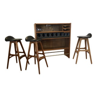 1960s Mid-Century Modern Erik Buch Teak Bar and Stools - 4 Pieces