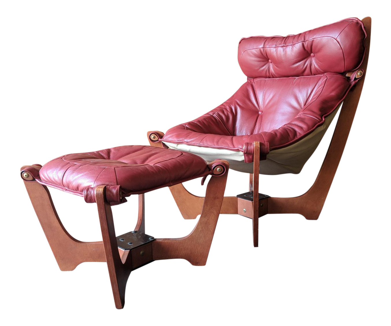 Odd Knutsen Scandinavian Design Soft Red Leather Luna Chair And Ottoman