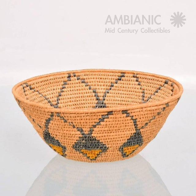 """For your consideration a vintage basket bowl with native American Indian decor. Handmade, USA, circa 1940s. 7 7/8"""" tall x..."""