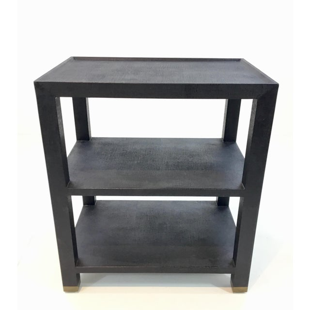 2010s Made Goods Navey Linen Side Table For Sale - Image 5 of 5