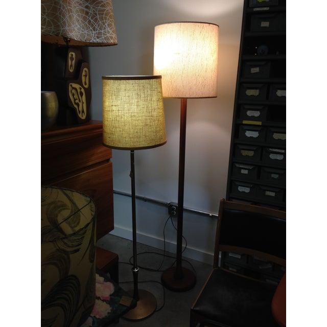 Mid Century Brass Floor Lamp w/Wood Accent - Image 7 of 7