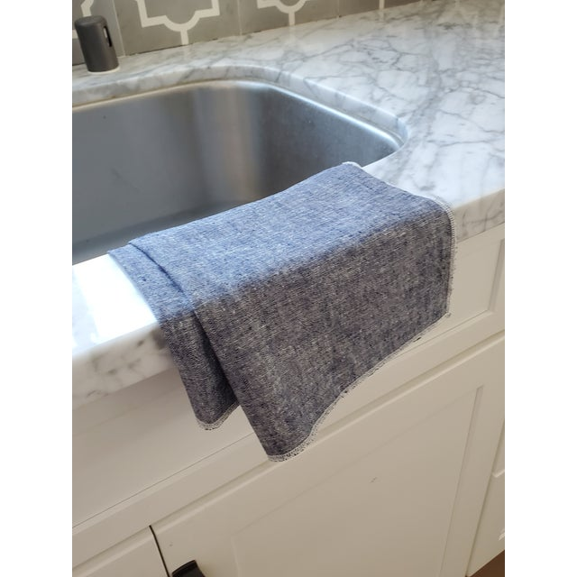 Contemporary Blue Linen Tea Dish Kitchen Towels - a Pair For Sale - Image 3 of 4