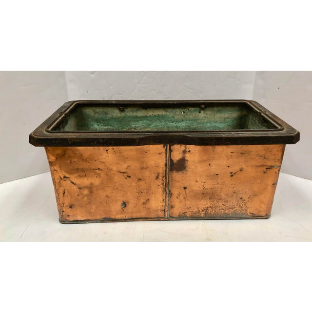 1930s Vintage French Rectangular Copper Planter For Sale - Image 9 of 9