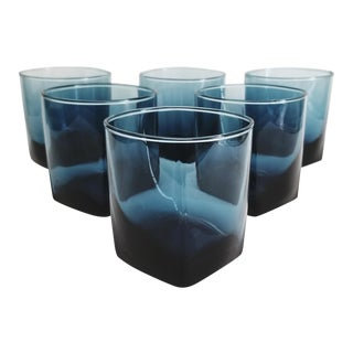 Mid-Century Dark Blue Double Old Fashioned Cocktail Glasses With Square Bases - Set of 6 For Sale