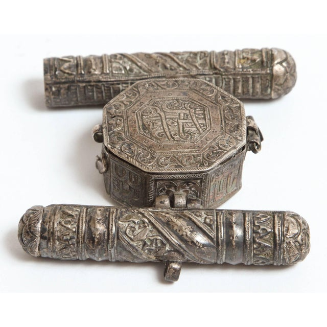 Islamic 19th Century Silver Repousse Islamic Talisman Miniature Holder For Sale - Image 3 of 6