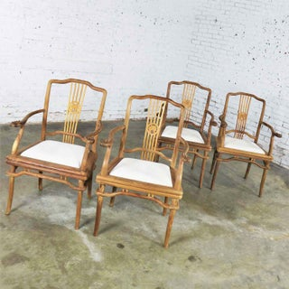 Set of Four Natural Teak Indonesian Ming Style Dining Armed Chairs With Upholstered Seats Preview