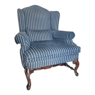 Early 21st Century Navy and Gold Pinstriped Wingback Chair For Sale