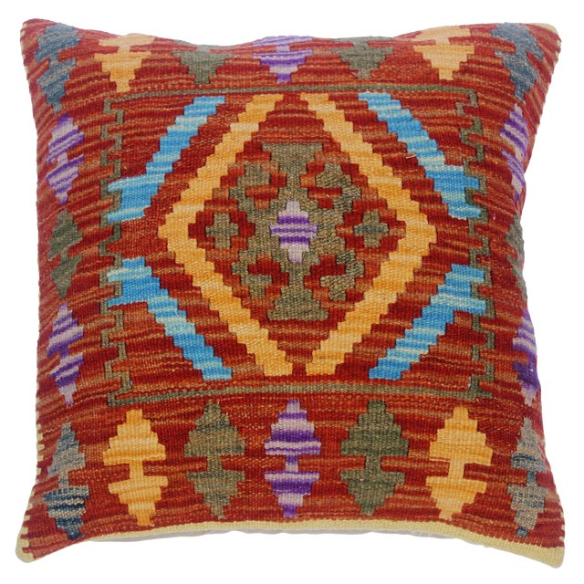 "Charlsie Red/Pink Hand-Woven Kilim Throw Pillow(18""x18"") For Sale"