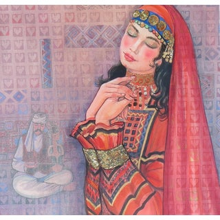 Zaman Zamani Watercolor and Gold Portrait of Young Woman For Sale