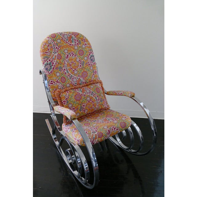 Vintage Mid-Century Modern Rocking Chair Upholstered in Brunschwig & Fils Fabric - Image 4 of 8