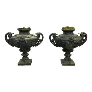 19th Century French Blue Painted Urns - a Pair For Sale