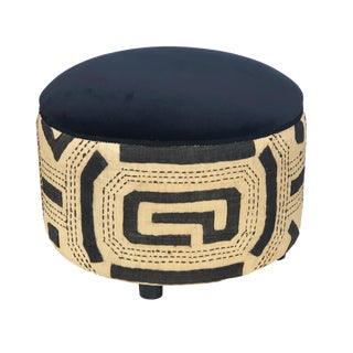 "Stunning Custom Made Kuba Cloth Ottoman 17"" H by 22"" D For Sale"