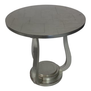 Hollywood Regency Silver Leaf Round Table For Sale