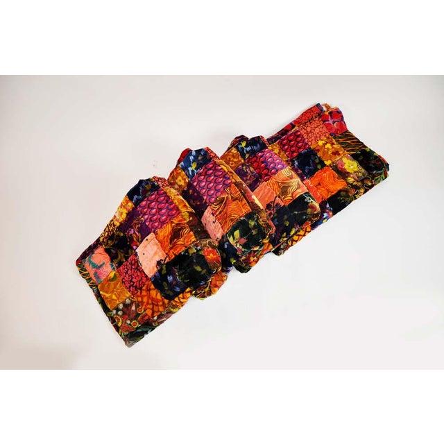 Vintage Boho Quilted Velvet Bedspread - Image 4 of 10
