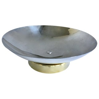 Midcentury Stainless and Brass Footed Bowl For Sale