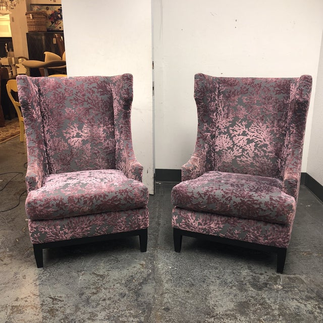 Bernhardt Pascal Contemporary Wingback Chairs - a Pair - Image 3 of 11
