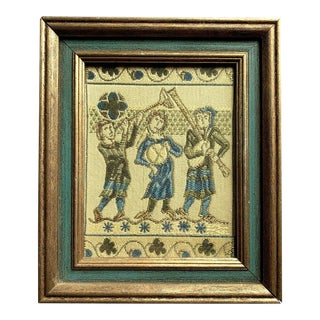Framed Medieval Musicians Playing Tapestry Fragment For Sale