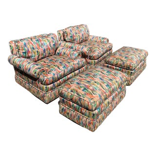 Missoni Fabric, Baker Style, Multi-Color Upholstered Club Chairs and Matching Ottomans - a Pair For Sale