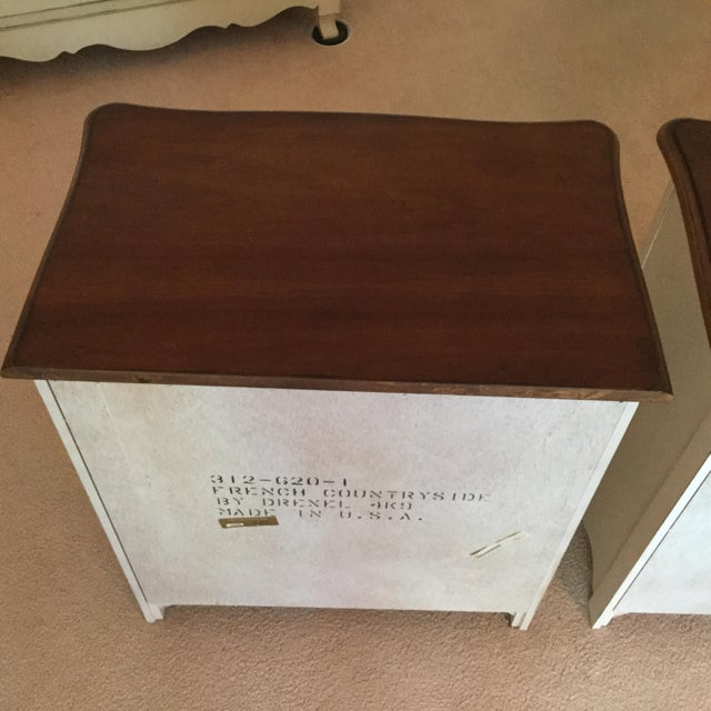 Wood Drexel French Countryside Bedside Chests - a Pair For Sale - Image 7 of 9
