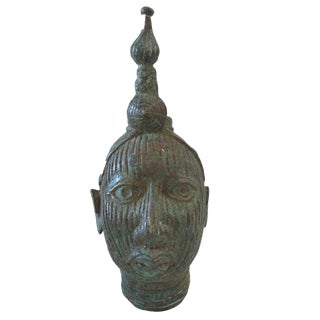 African Benin Bronze Brass Head of Oba Nigeria For Sale